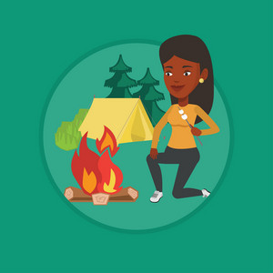 African woman sitting near campfire with marshmallow. Woman roasting marshmallow over campfire. Tourist relaxing near campfire. Vector flat design illustration in the circle isolated on background.
