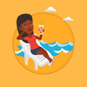 African woman sitting on a beach chair. Woman drinking a cocktail on a beach chair. Joyful woman on a beach chair with cocktail. Vector flat design illustration in the circle isolated on background.