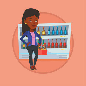 African woman standing in alcohol store with pack of beer on the background of refrigerator. Beer lover holding pack with bottles. Vector flat design illustration in circle isolated on background.