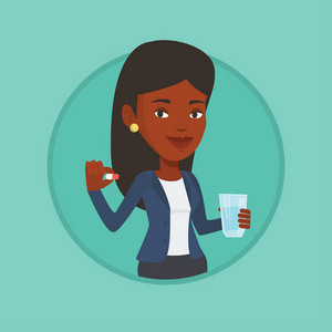 African woman taking pills. Woman holding pills and glass of water in hands. Woman taking vitamins. Healthy lifestyle concept. Vector flat design illustration in the circle isolated on background.