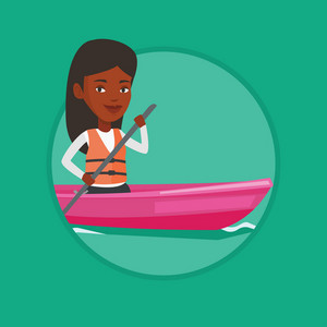 African woman traveling by kayak. Sportswoman riding in a kayak in the river. Female kayaker paddling. Woman paddling a canoe. Vector flat design illustration in the circle isolated on background.