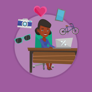 African woman using laptop for online shopping. Woman doing online shopping. Woman buying in online shop. Girl buying on internet Vector flat design illustration in the circle isolated on background