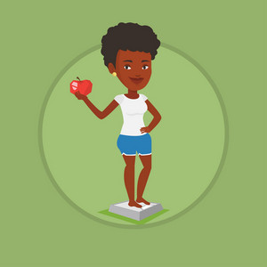 African woman with apple weighing after diet. Woman satisfied with result of her diet. Dieting and healthy lifestyle concept. Vector flat design illustration in the circle isolated on background.