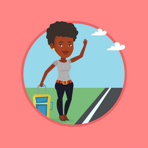 African woman with suitcase hitchhiking on roadside. Hitchhiking woman trying to stop a car on a highway. Woman catching taxi car. Vector flat design illustration in the circle isolated on background.