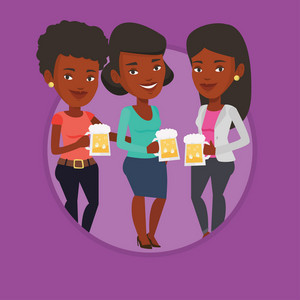 African women clanging glasses of beer. Women toasting and clinking glasses of beer. Group of friends enjoying a beer at pub. Vector flat design illustration in the circle isolated on background.