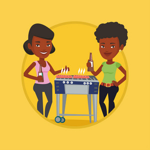 African women having a barbecue party. Women preparing barbecue and drinking beer. Group of friends having fun at barbecue party. Vector flat design illustration in the circle isolated on background