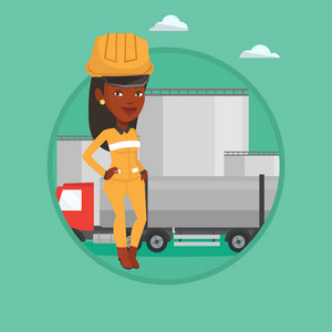 African worker of oil and gas industry. Confident refinery worker standing on the background of fuel truck and oil refinery plant. Vector flat design illustration in the circle isolated on background.