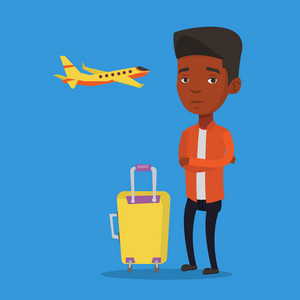Airplane passenger frightened by future flight. Airplane passenger suffering from fear of flying. Terrified passenger with suitcase waiting for a flight. Vector flat design illustration Square layout.
