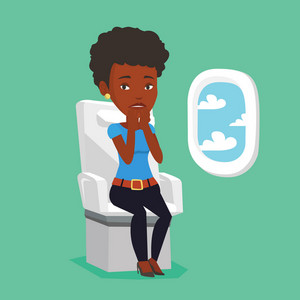 Airplane passenger shocked by plane flight in a turbulent area. Airplane passenger frightened by flight. Terrified passenger sitting in airplane seat. Vector flat design illustration. Square layout