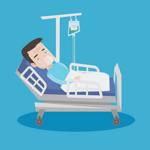 An adult man lying in hospital bed with oxygen mask. Man during medical procedure with drop counter. Patient recovering in bed in hospital. Vector flat design illustration. Square layout.