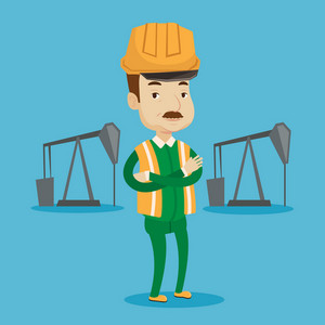 An adult oil worker in uniform and helmet. Cnfident oil worker standing with crossed arms. An oil worker standing on a background of pump jack. Vector flat design illustration. Square layout.