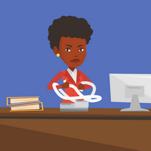 An african-american angry business woman sitting in office and tearing furiously bills. Young angry business woman calculating bills. Vector flat design illustration. Square layout.