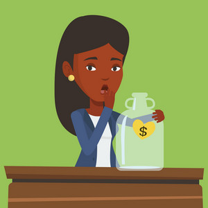 An african-american bankrupt businesswoman looking at empty money box. Desperate bankrupt sitting at the table with empty money box. Bankruptcy concept. Vector flat design illustration. Square layout.