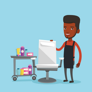 An african-american barber standing near armchair and table with cosmetics in barber shop. Vector flat design illustration. Square layout.