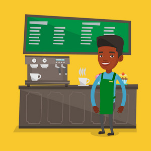 An african-american barista sanding in front of coffee machine. Young friendly barista sanding at coffee shop. Happy barista making a cup of coffee. Vector flat design illustration. Square layout.