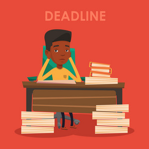 An african-american business man having problem with deadline. Stressed business man clutching his head because of missed deadline. Deadline concept. Vector flat design illustration. Square layout.