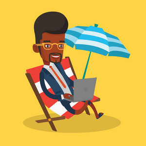 An african-american business man working on the beach. Businessman sitting in chaise lounge under beach umbrella. Businessman using laptop on the beach. Vector flat design illustration. Square layout.
