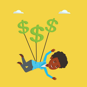 An african-american business woman flying with dollar signs. Business woman gliding in the sky with dollars. Business woman using dollars as parachute. Vector flat design illustration. Square layout.
