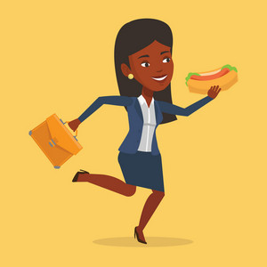 An african-american business woman in a hurry eating hot dog. Business woman with briefcase eating on the run. Business woman running and eating hot dog. Vector flat design illustration. Square layout