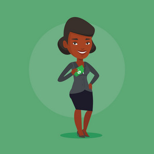 An african-american business woman putting money bribe in his pocket. Business woman hiding money bribe in jacket pocket. Bribery and corruption concept. Vector flat design illustration. Square layout
