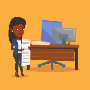 An african-american business woman standing with long bill in hands. Disappointed business woman holding long bill. Business woman looking at long bill. Vector flat design illustration. Square layout.