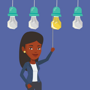 An african-american business woman switching on hanging idea light bulb. Young cheerful business woman pulling a light switch. Business idea concept. Vector flat design illustration. Square layout.
