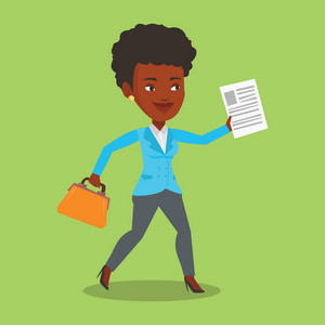 An african-american business woman with briefcase and a document running. Business woman running in a hurry. Cheerful business woman running forward. Vector flat design illustration. Square layout.