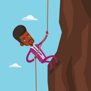 An african-american businessman climbing on the rock. Brave businessman in business suit climbing on mountain using rope. Concept of business challenge. Vector flat design illustration. Square layout