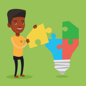 An african-american businessman completing light bulb made of puzzle. Businessman inserts the missing puzzle in light bulb. Business idea concept. Vector flat design illustration. Square layout.