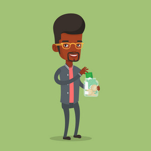 An african-american businessman holding money jar. Smiling businessman saving money banknotes in glass jar. Businessman putting money into glass jar. Vector flat design illustration. Square layout.