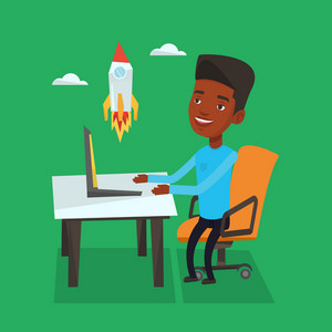 An african-american businessman looking at business start up rocket. Young businessman working on new business start up. Business start up concept. Vector flat design illustration. Square layout.