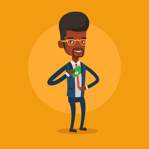An african-american businessman putting money bribe in his pocket. Businessman hiding money bribe in jacket pocket. Bribery and corruption concept. Vector flat design illustration. Square layout.