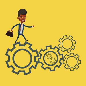 An african-american businessman running on cogwheels. Businessman running to success. Businessman running in a hurry. Concept of moving to success. Vector flat design illustration. Square layout.