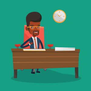 An african-american businessman signing contract in office. Man is about to sign a business contract. Confirmation of transaction by signing of contract. Vector flat design illustration. Square layout