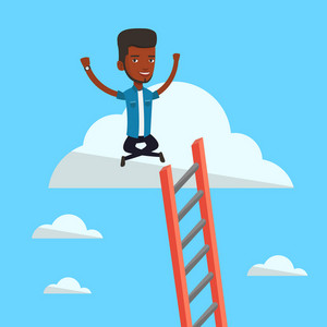An african-american businessman sitting on a cloud with ledder. Successful businessman relaxing on a cloud. Businessman with rised hands on a cloud. Vector flat design illustration. Square layout.