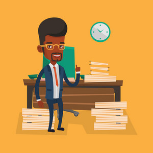 An african-american businessman standing in office and pointing at time on clock. Businessman working against time. Time management concept. Vector flat design illustration. Square layout.