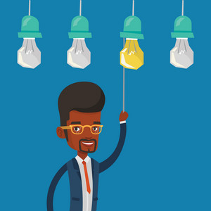 An african-american businessman switching on hanging idea light bulb. Young cheerful businessman pulling a light switch. Business idea concept. Vector flat design illustration. Square layout.