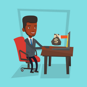 An african-american businessman working in office and bag of money coming out of laptop. Man earning money from online business. Online business concept. Vector flat design illustration. Square layout