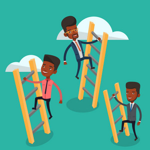 An african-american businessmen climbing the ladders. Businessmen climbing on the cloud. Businessmen climbing to success. Business competition concept. Vector flat design illustration. Square layout.