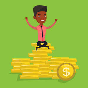 An african-american cheerful businessman sitting on stack of golden coins. Businessman sitting on a pile of golden coins. Businessman on gold coins. Vector flat design illustration. Square layout.