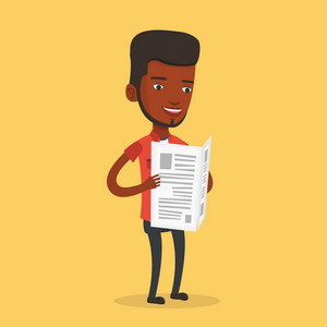 An african-american cheerful man reading the newspaper. Young smiling man reading good news in newspaper. Happy man standing with newspaper in hands. Vector flat design illustration. Square layout.