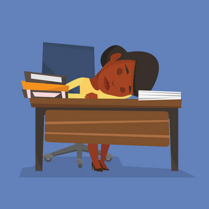 An african-american fatigued student sleeping at the desk with books. Tired student sleeping after learning. Girl sleeping among the books at the table. Vector flat design illustration. Square layout.