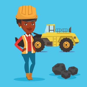 An african-american female miner in hard hat standing on the background of a big excavator. Confident female miner with crossed arms standing near coal. Vector flat design illustration. Square layout.