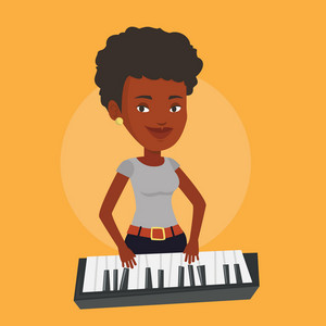 An african-american female pianist playing on synthesizer. Young smiling musician playing piano. Pianist playing upright piano. Vector flat design illustration. Square layout.