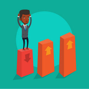An african-american frightened bankrupt businessman clutching his head. Young bankrupt standing on chart going down. Concept of business bankruptcy. Vector flat design illustration. Square layout.