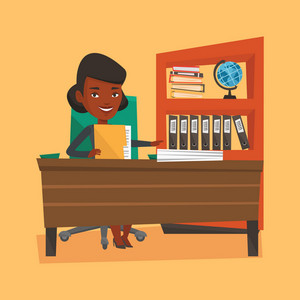 An african-american happy office worker working with documents. Office worker sitting at the table with documents. Office worker inspecting documents. Vector flat design illustration. Square layout.