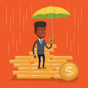 An african-american insurance agent. Insurance agent holding umbrella over golden coins. Business insurance and business protection concept. Vector flat design illustration. Square layout.