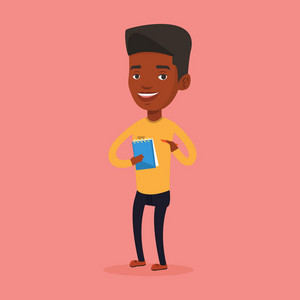 An african-american journalist writing notes on the notepad. Young journalist writing in notebook with pencil. Journalist writing notes with pencil. Vector flat design illustration. Square layout