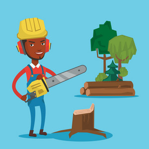 An african-american lumberjack holding chainsaw. Lumberjack in workwear, hard hat and headphones at the forest near stump. Lumberjack chopping wood. Vector flat design illustration. Square layout.
