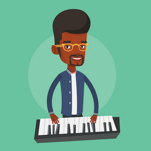 An african-american male pianist playing on synthesizer. Young smiling musician playing piano. Pianist playing upright piano. Vector flat design illustration. Square layout.